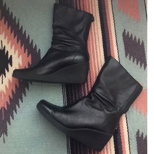 Black wedge leather booties sz 6.5 Mallory
